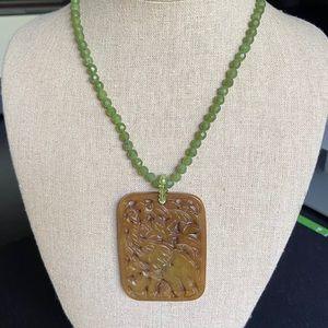 Vintage Carved Jade Elephant Necklace